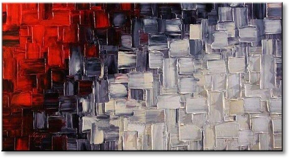Seekland Hand Painted Red and White Abstract Canvas Wall Art Modern Contemporary Acrylic Painting for Living Room Ready to Hang (Framed 48