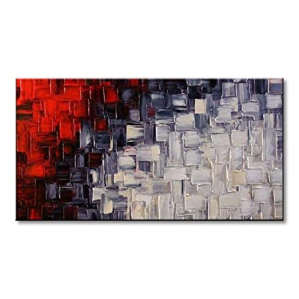 ed718df085e Seekland Hand Painted Acrylic Artwork Red and White Abstract Canvas Wall Art  Modern Contemporary Oil Painting