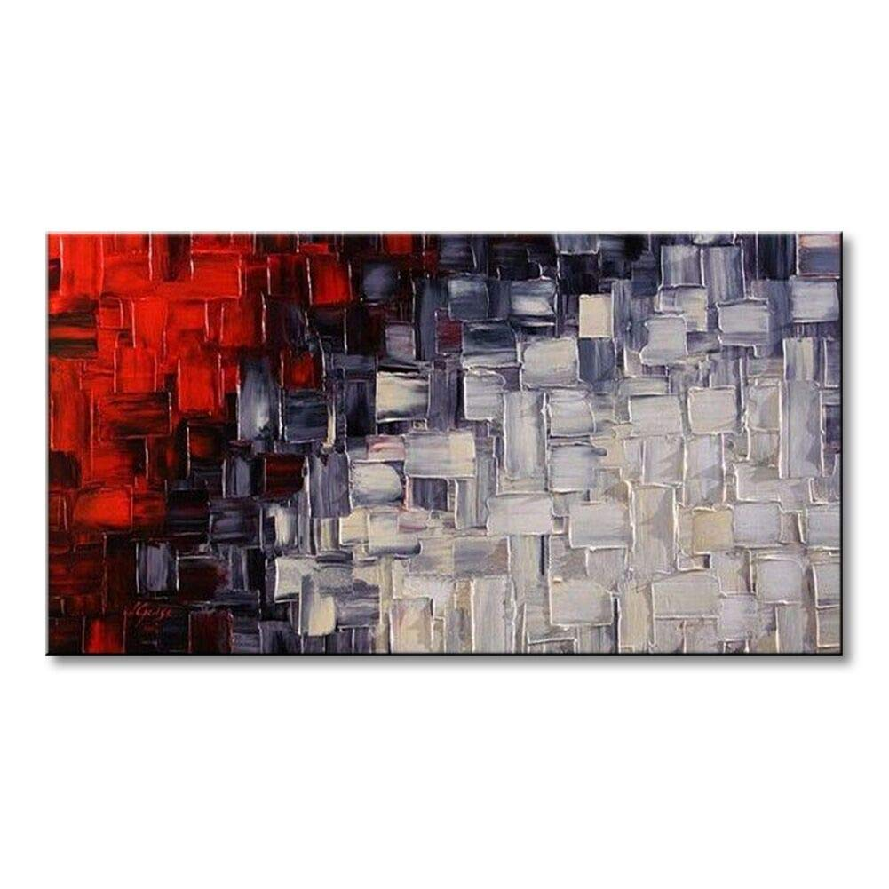 Seekland Hand Painted Red and White Abstract Canvas Wall Art Modern Contemporary Acrylic Painting for Living Room Ready to Hang (Framed 48'' W x 24'' H)