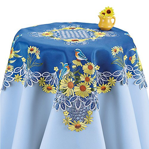 Collections Etc Embroidered Sunflowers Table Runner/Topper with Blue Birds, Square