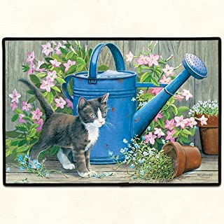 product image for Fiddlers Elbow Gardener's Assistant Black and White Cat with Blue Watering Can Doormat