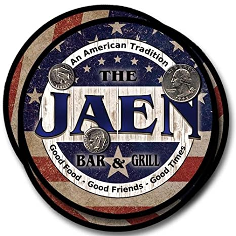 Amazon.com: Jaen Family Bar and Grill Rubber Drink Coaster ...