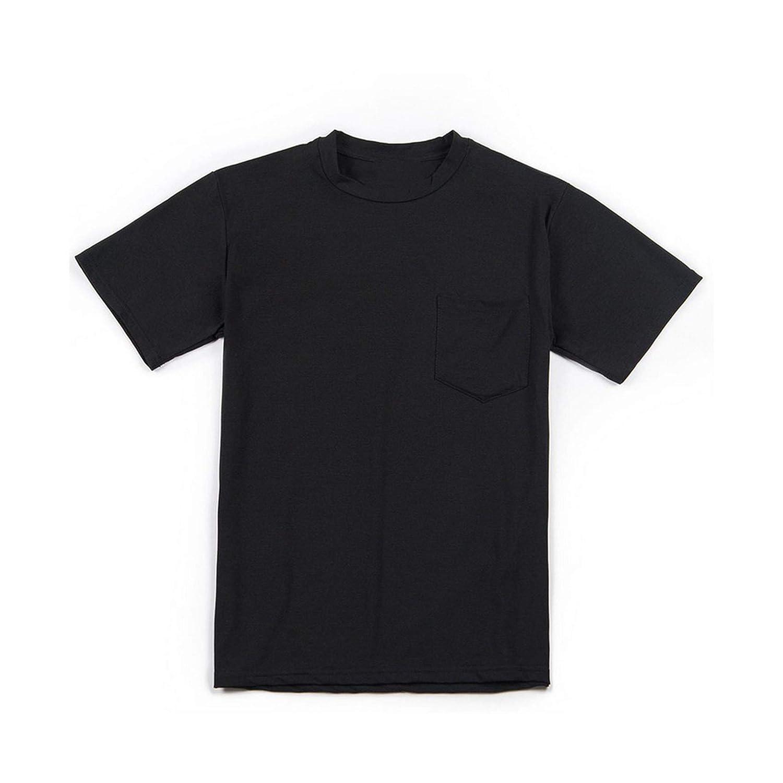 Plus Size Slim Pocket Tee Top Solid Casual Hiphop Streetwear-in