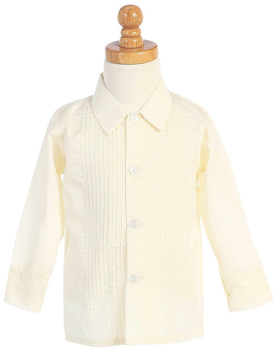 Boys Ivory Long Sleeved Child's Pleated Tuxedo Dress Shirt - 7
