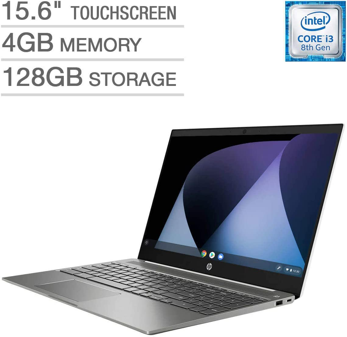 HP High Performance 15.6 inch Chromebook Intel Core i3-8130U IPS FHD 1080p 4GB 128GB eMMC , Ceramic White