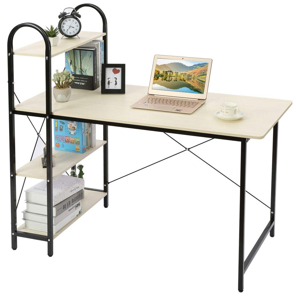 HOME BI Computer Desk, Home Office Desk with Shelf, Wood Work-Station Study PC Laptop Table, Natural