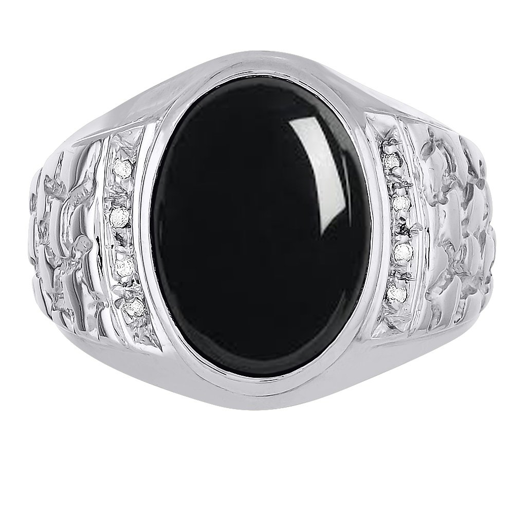 Mens Onyx /& Diamond Ring Sterling Silver or Yellow Gold Plated Silver Nugget Band