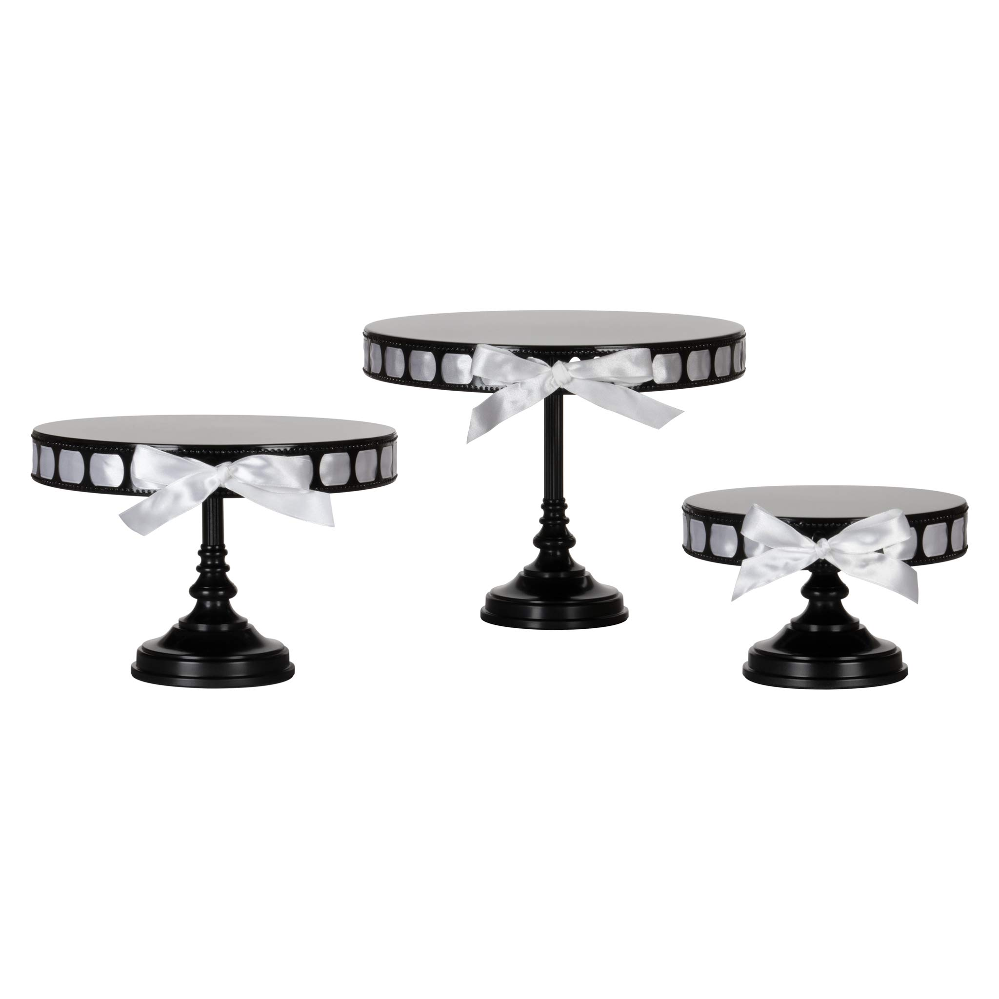 Amalfi Decor Ribbon Cake Stand Set of 3 Pack, Dessert Cupcake Pastry Candy Plate for Wedding Event Birthday Party, 15 Satin Ribbons Included, DIY Round Pedestal Tray Holder, Black by Amalfi Décor