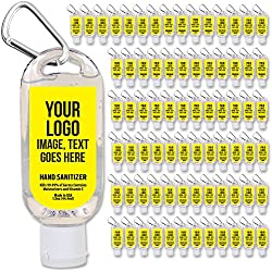 Personalized Hand Sanitizer with Clip—Bulk 100-Piece Pack—Extra-Moisturizing with Aloe Vera and Vitamin E. Airline Approved 1.5 Oz Containers. Custom Promotional Products.