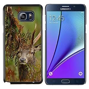 KLONGSHOP // Cubierta de piel con cierre a presión Shell trasero duro de goma Protección Caso - Divertido Majestic Stag - Samsung Galaxy Note 5 5th N9200 //