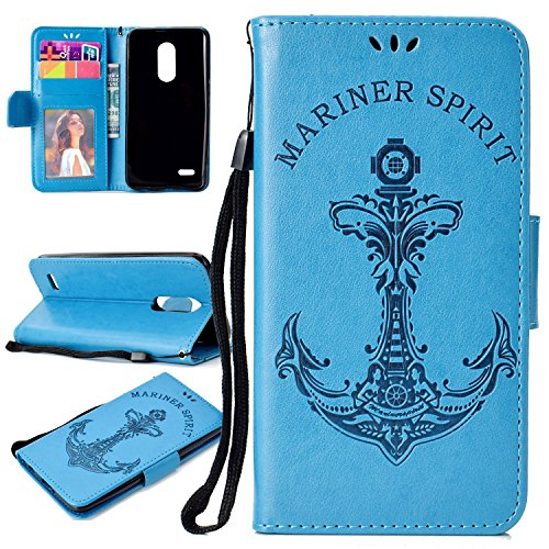 Lucky Slots Handbag - Lucky Shop1234 LG K10 Case Wallet Case LG K10 Premium PU Leather Flip Case Stand Wallet Purse Business Folio Protective Cover with Card Holder for LG K10 2018 (Blue)