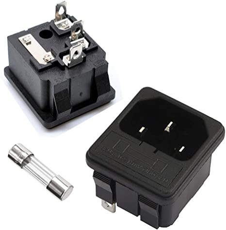 Replacement 3 Terminal Fused Power Socket w Switch 10A AC 250V