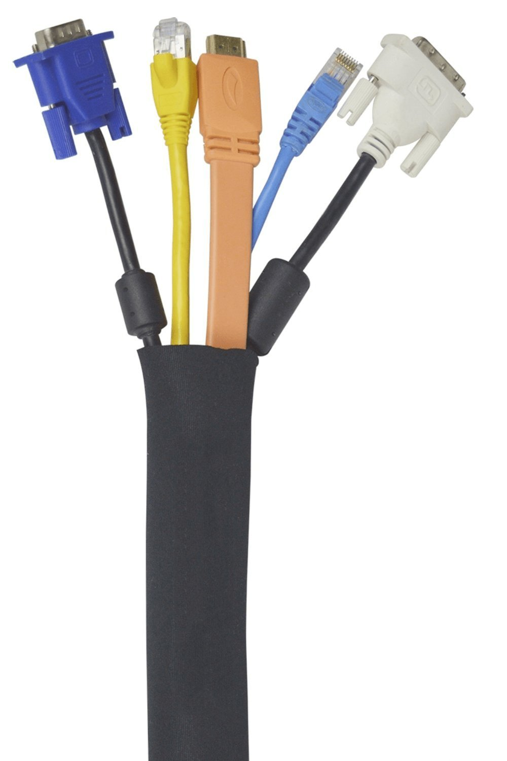 "Amazon.com: Cable Management Sleeve | 5 Pack | 20"" Black Cable ..."