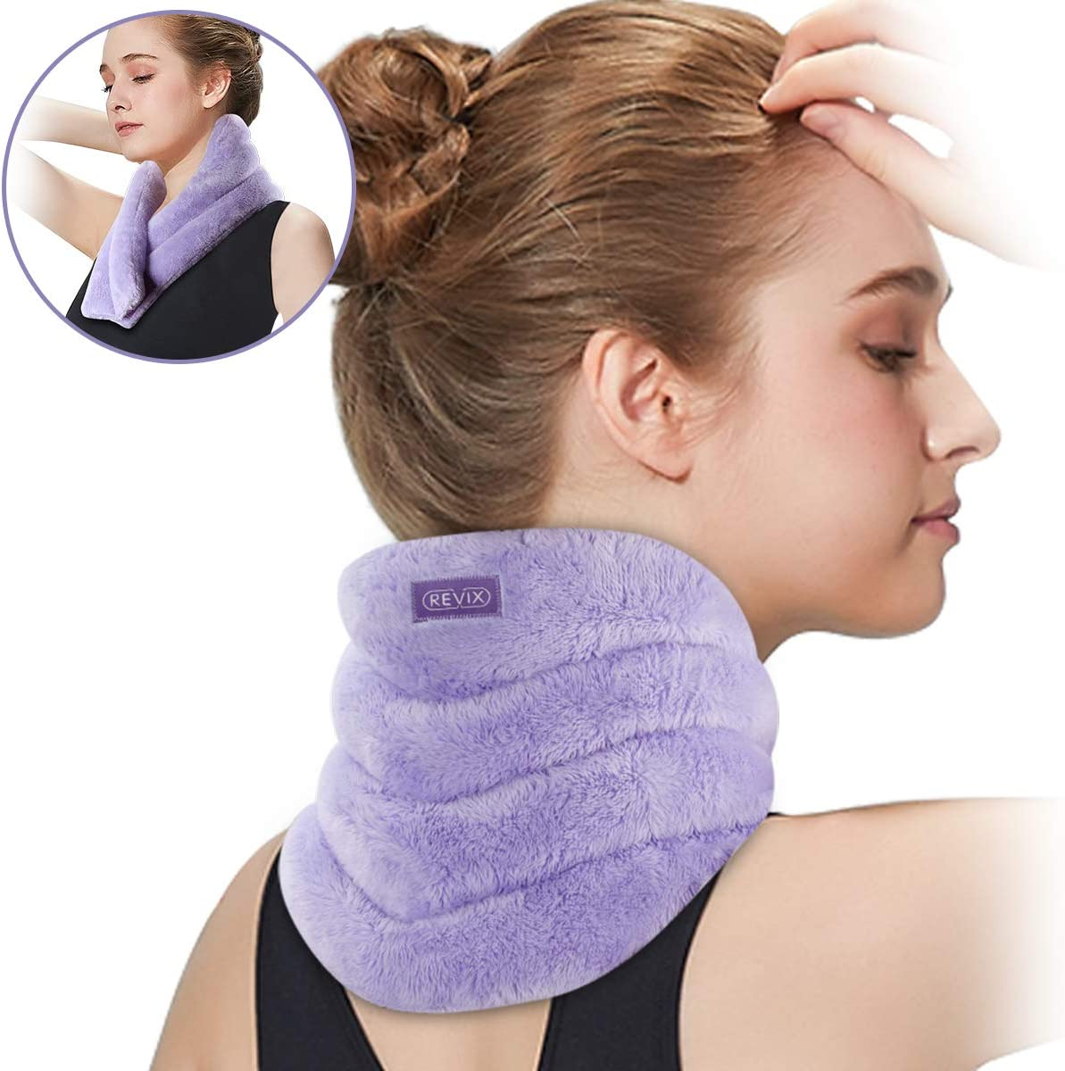 REVIX Neck Heating Pad Microwavable Heated Neck Wrap with Moist Heat for Stress Pain Relief, Microwave Neck Warmer for Woman, Unscented Hot or Cold Pack