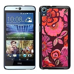 HTC Desire 826 dual Único Patrón Plástico Duro Fundas Cover Cubre Hard Case Cover - Pattern Pink Fabric Dark Purple