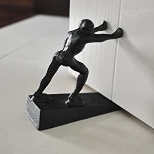 """Cast Iron Doorstops - Decorative Rustic Door Stopper - Stop Your Bedroom, Bath and Exeterior Doors ,6.1x5.1""""(Strong Man) Black"""