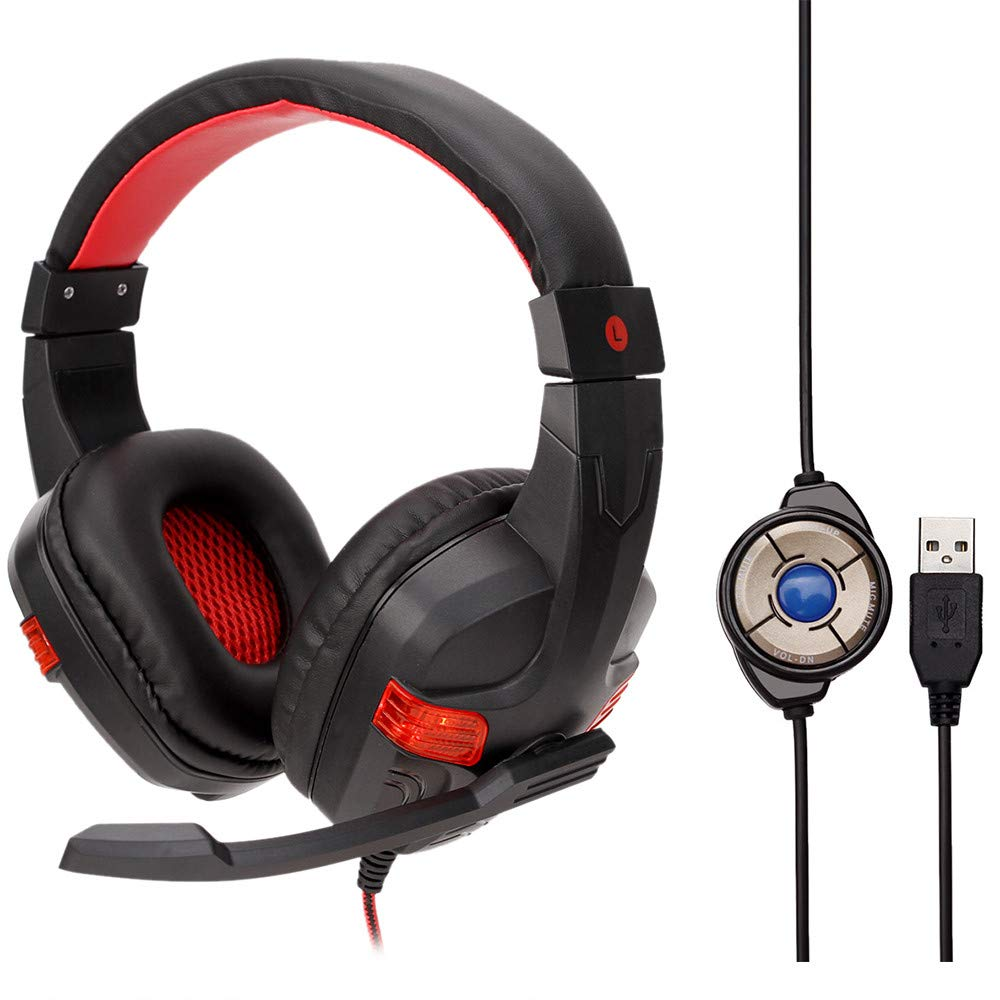 Aobiny USB Wired LED Gaming Headset Headphones,with Microphone for PC (Red)