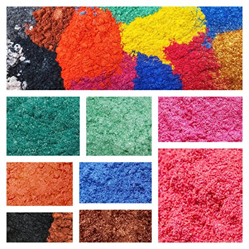 16 Mica Pigment Powder for Soap Making Supplies and Cosmetics Uses – Safe for DIY Soaps, Bath Bombs, Lotions, Shower Gels, Nail Polishes, Eye Shadow – A Sample Set of Beautiful (0.1% Lotion)