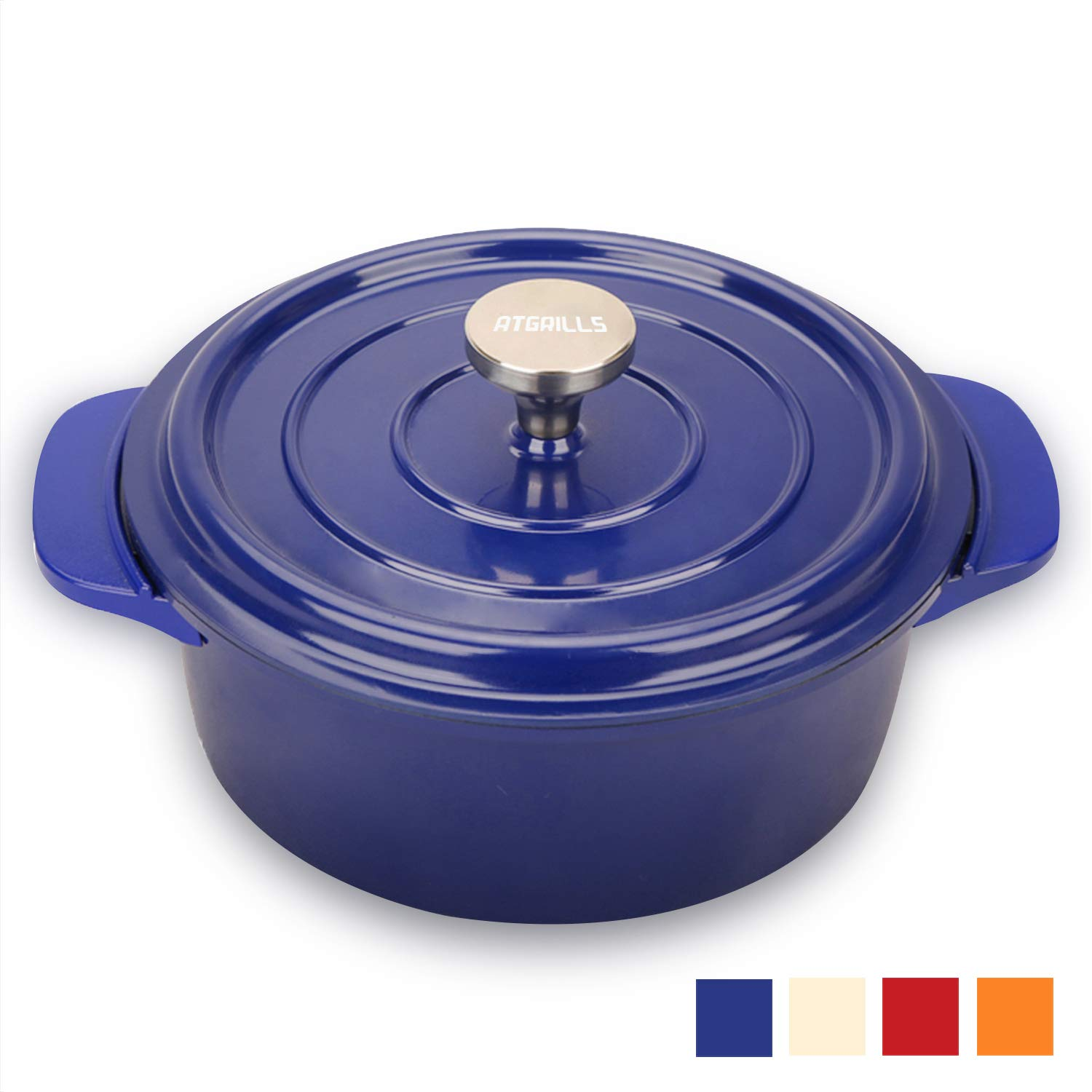 2 QT Cast Aluminum Dutch Oven/Pot with Non-stick Coating, Red/Orange/White/Blue Cookware(HP200-Blue, 2qt)