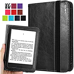 Kindle 7th Gen Case - Poetic Kindle 7th Gen Case [SlimBook Series] - [SlimFit] [Professional] PU Leather Slim Folio Case for Amazon Kindle 7th Gen Black (3 Year Manufacturer Warranty From Poetic)