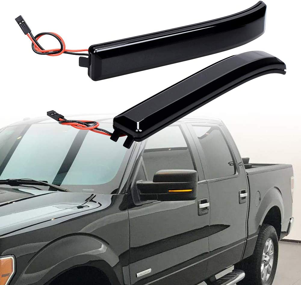 Sequential Turn Signal LED Side Mirror Reflector Maker Light Smoked Len Flashing Compatible with 09-14 Ford F150