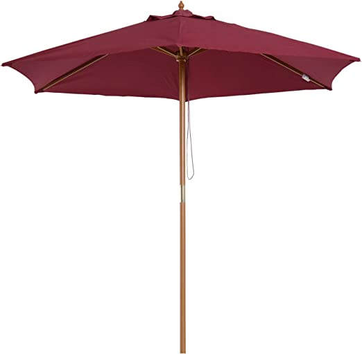 Outsunny Sombrilla Parasol de Patio Altura 2, 25m Terraza Jardin Diametro 2, 5m Color Rojo Vino: Amazon.es: Jardín