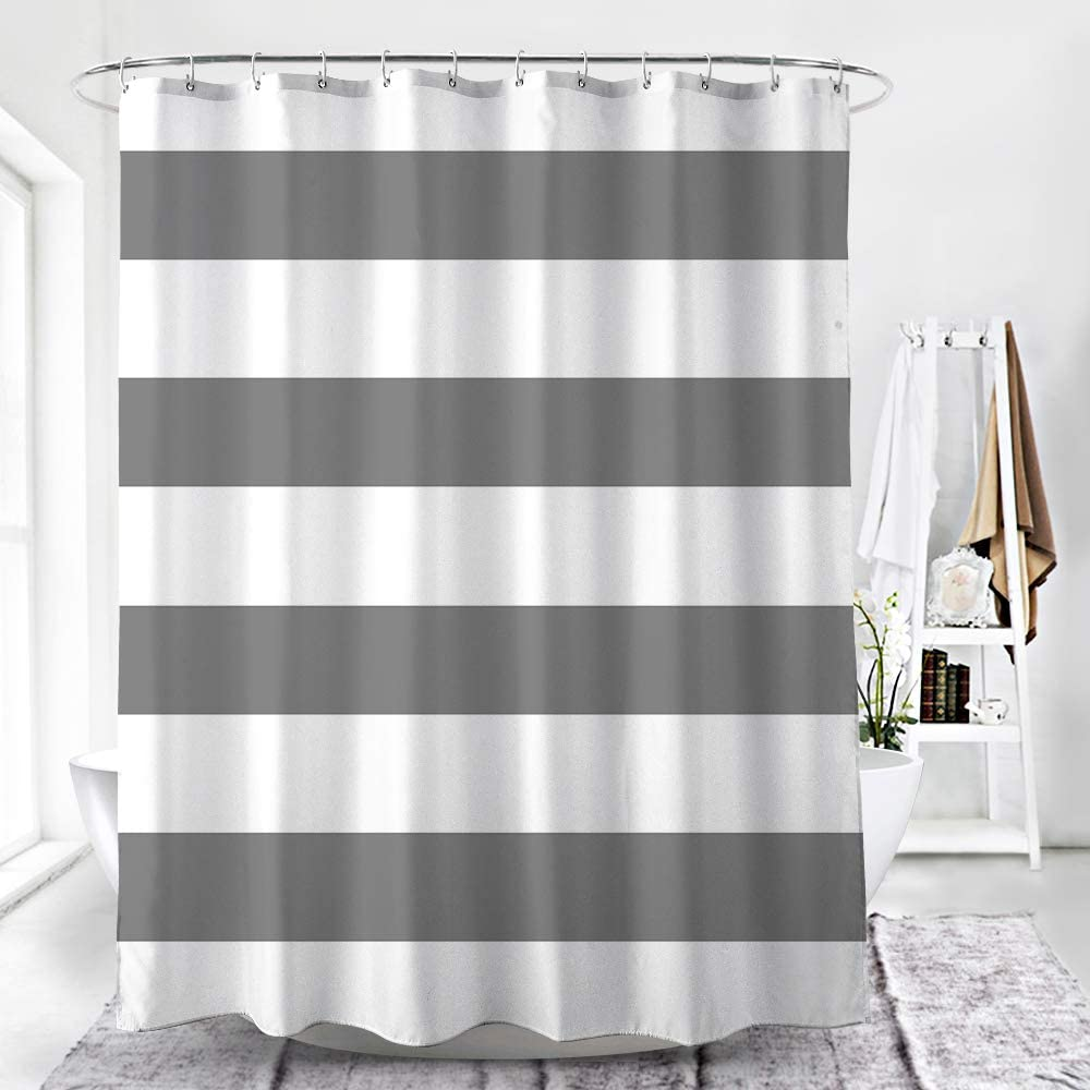 Honeystore Striped Shower Curtain, Hotel Luxury, SPA, Heavy Duty Fabric, Waterproof and Washable - White Grey Stripe, 71 x 71 inches for Bath Curtains