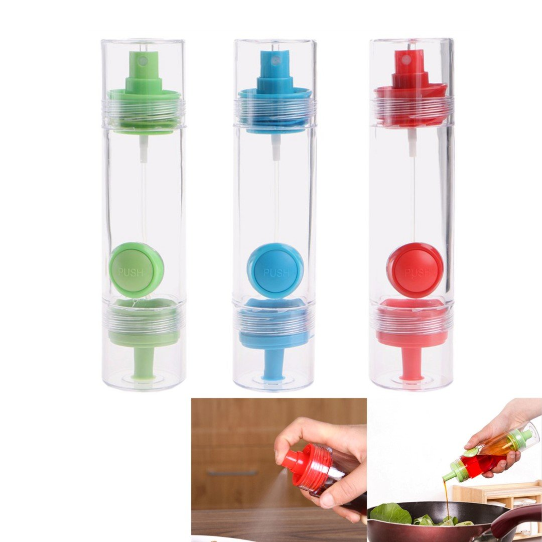 2 Way 2 in 1 Vinegar Olive Oil Sprayer Portable Spray Bottle Trigger Pump Glass Mister Oil Pot Leak-proof Drops Oil Dispenser BBQ Kitchen Cooking Barbecue and Making Salad Tool Food Grade