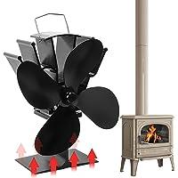 Orthland Kachelventilator met 4 bladen, 50 graden Celsius, snelle zelfstart, ventilator met warmtewerking voor hout…