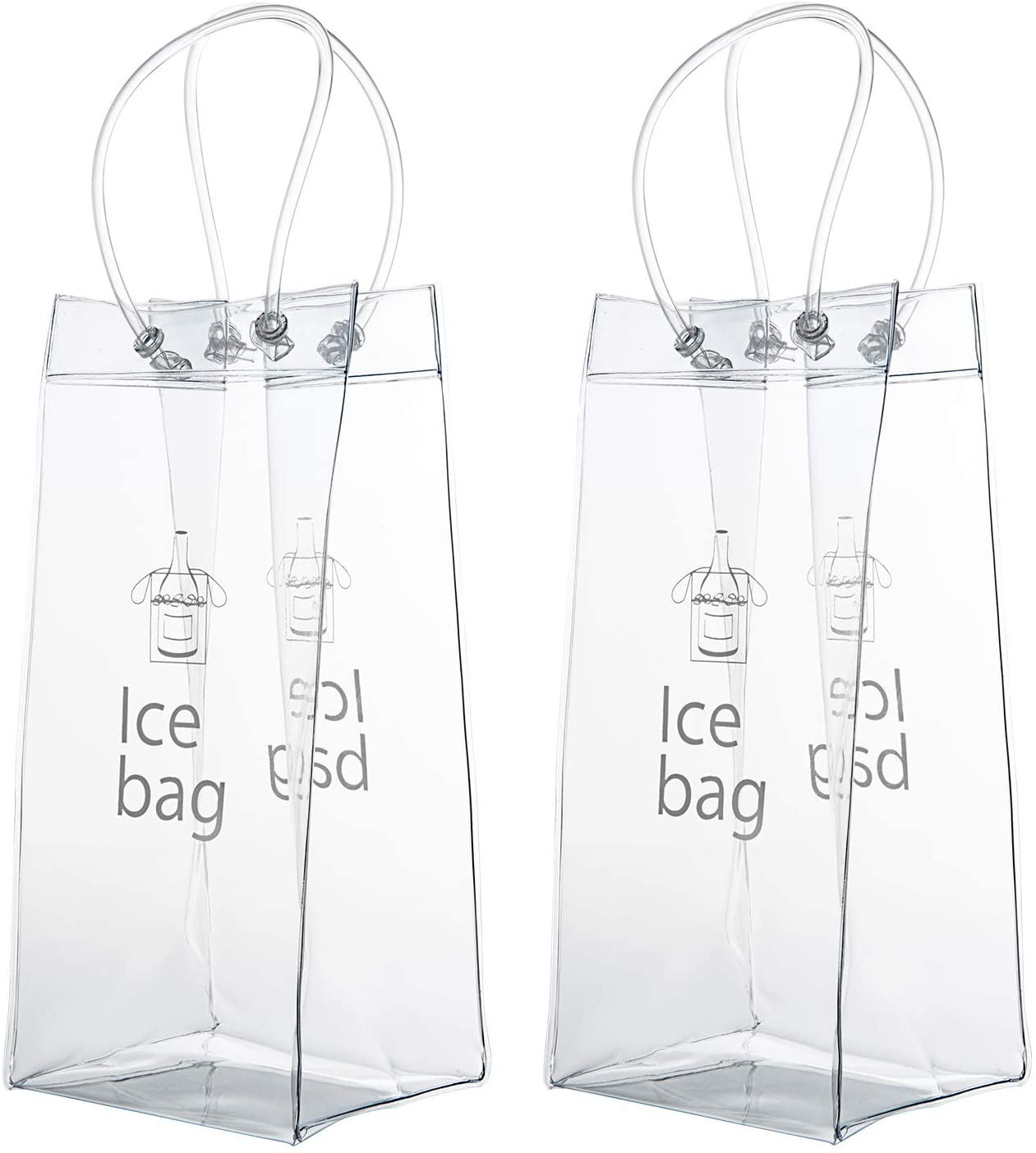 Wolintek Bolso de Hielo,2 Paquetes PVC Champagne Bolsa de Hielo Bolsa de Refrigerador con Mango para Pubs y Restaurantes, Hogar
