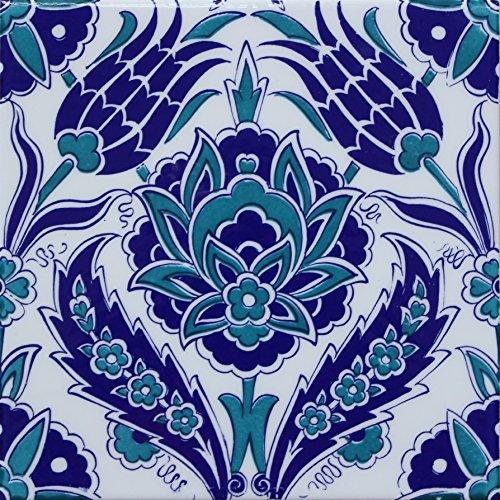 "Turkish Iznik Carnation & Tulip Pattern Turquiose 8"" x 8"" Ceramic Tile (10)"