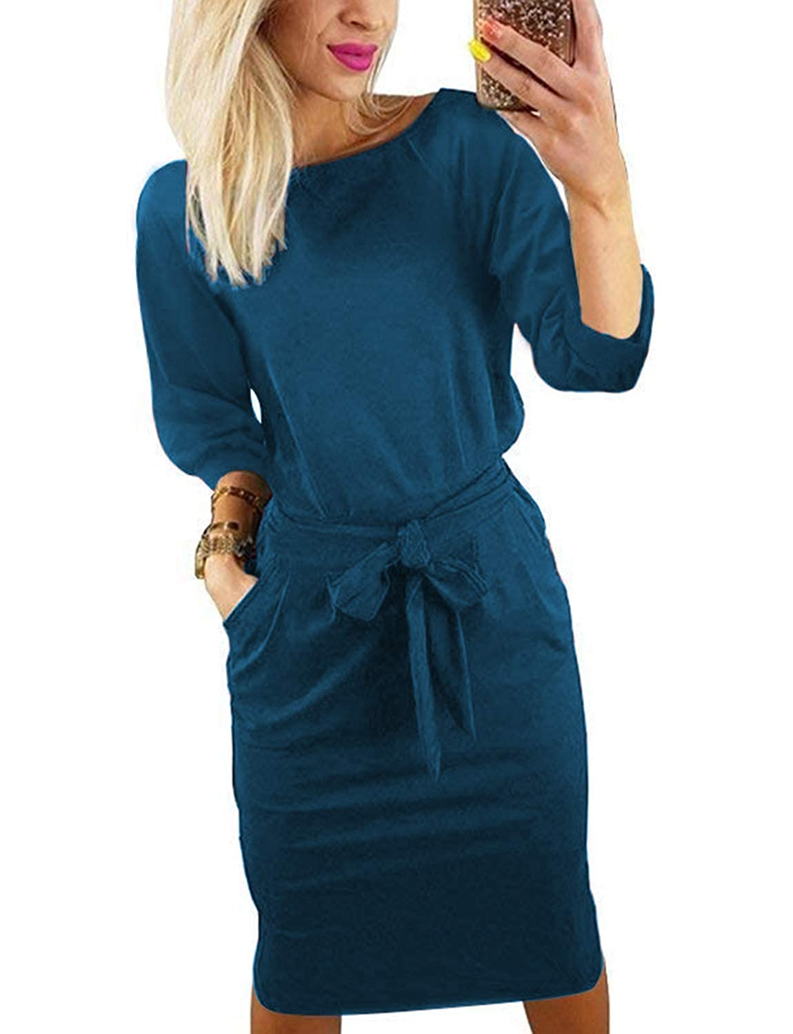 bluee BB&KK Women's Pencil Dress with Pockets Belt Long Sleeve Knee Length Elegant Business Casual S3XL