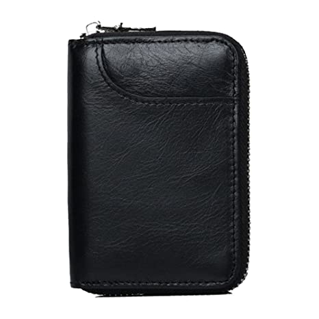 a18f7caa Tarjeteros para Tarjetas de Credito Mujer Hombre 12 Tarjetas Cartera  Tarjetero Piel RFID Bloqueo Monedero de Cuero Cremallera Billetera (Negro)