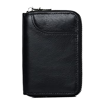 Black Credit Card Holder Wallet Vodabang ID Business Card Case Wallet Genuine Leather RFID Blocking Credit Card Holder Mini Small Coin Purse