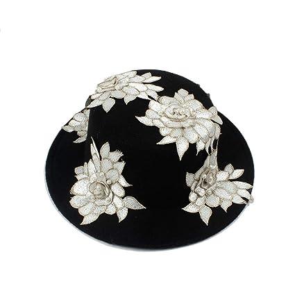 Black Wool Wide Brim Bowler Trilby Fedora Hat Women White Flower Plain Flat  Lady Felt Hats Vintage (Color   Black bd3a9acd5f1f