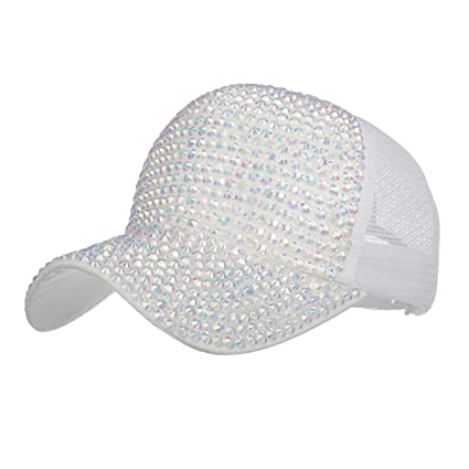 9558c607fb3 Image Unavailable. Image not available for. Color  Botrong Women Rhinestone  Hats Female Baseball Cap Bling ...