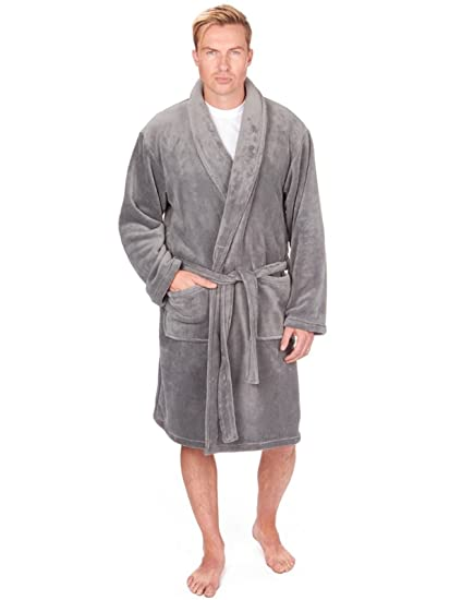 Hommes Luxe Doux Corail Peignoir Robe De Chambre Polaire