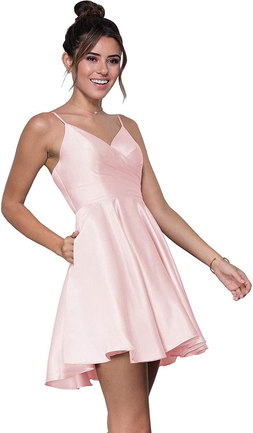 WuliDress Women's Spaghetti Strap A Line Pleated Satin V Neck Homecoming Dress Short Prom Formal Gown with Pockets 612pHBq5jSL