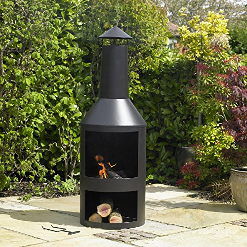 Kingfisher Black Steel Log Burner with Built in Log Store Outdoor Garden Furniture