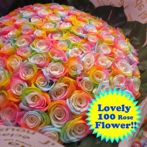 プロポーズ プリザーブドフラワー花束 レインボーローズ 100本 花束 プロポーズ記念日のフラワーギフト おすすめ B074N8Z6NJ