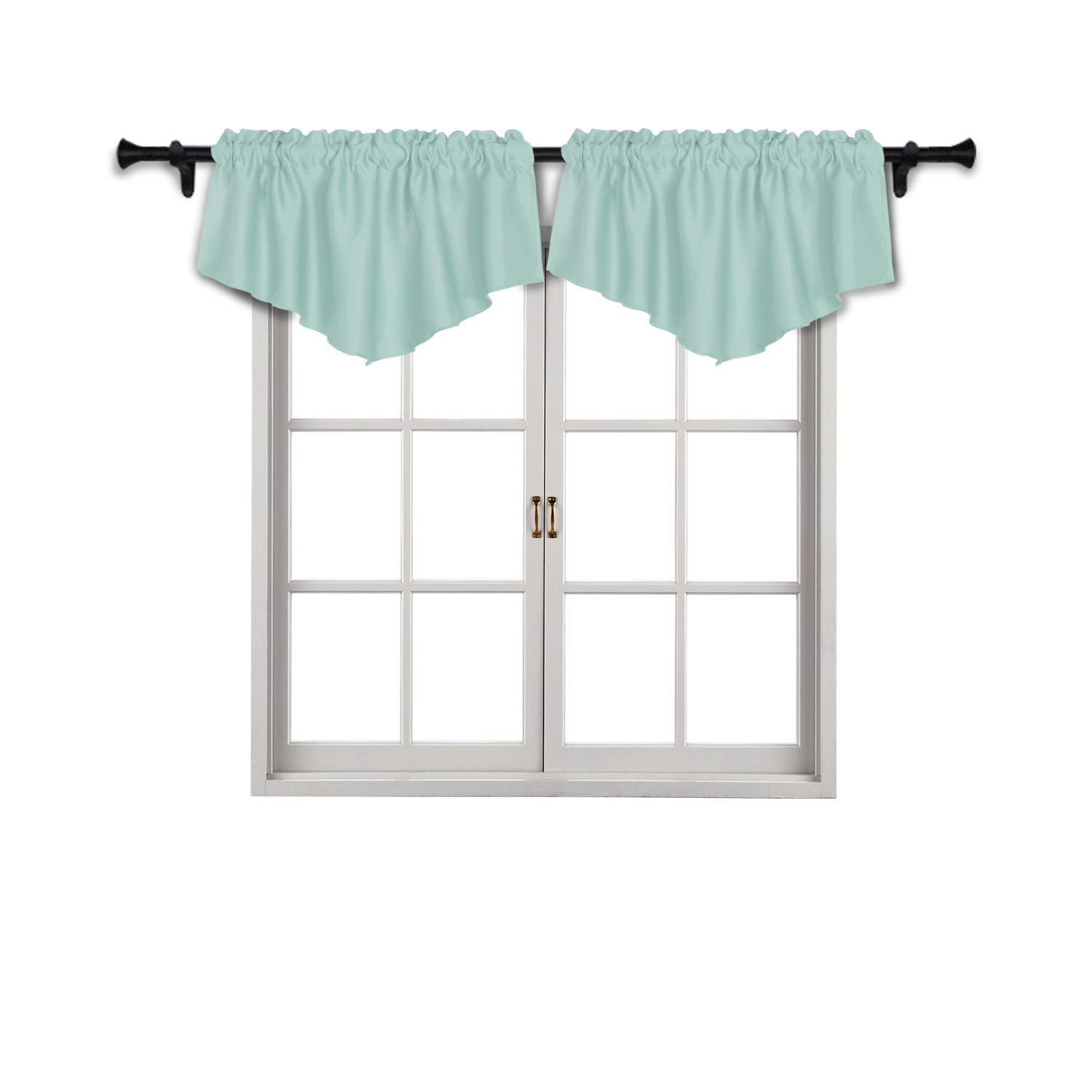SUO AI TEXTILE Thermal Insulated Rod Pocket Blackout Tier Curtains Triangle Blackout Valances Curtains for Small Window 42x18 Inch Mint Green 2 PCS