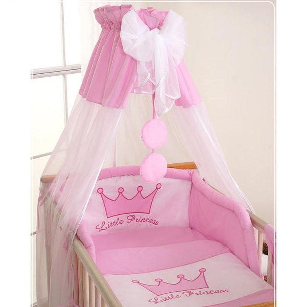 Ciel de lit bébé en voile avec bande – Princesse rose SWB 1437