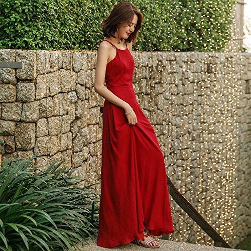 MiGMV?Robes Sexy Robe Dos Sling Robe, Jupe en Mousseline Rouge Beach, Plage Robe de Vacances,L 165-175cm 55-65kg/,par Exemple, la Couleur de l'image?: Red