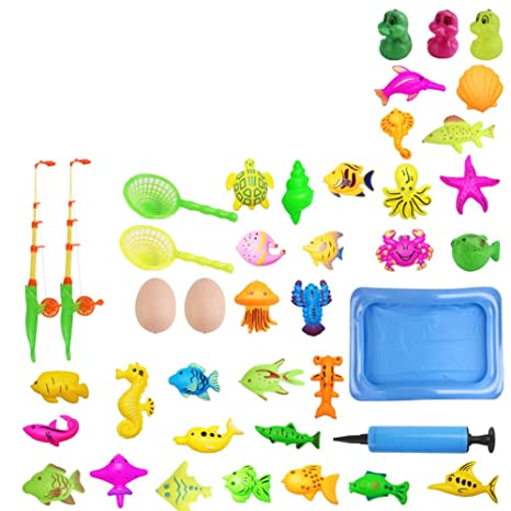 FidgetGear Magnetic Fishing Game Educational Play House Beach Pool Toy for Toddlers Kids 41 Sets (2 Shrimp �� + 2 net Fishing, Send Large air Pump)