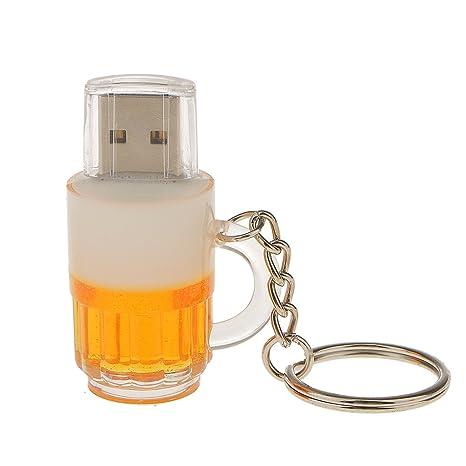 Memoria USB 2.0 Flash Pen Drive de Alta Velocidad con Llavero Forma de Jarra de Cerveza - 16 GB
