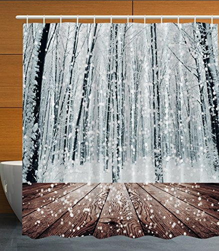 derland Decorations Black Forest Trees in White Snowflakes, Polyester Fabric Bathroom Shower Curtain Set with Hooks (Winter Wonderland Snowflake)