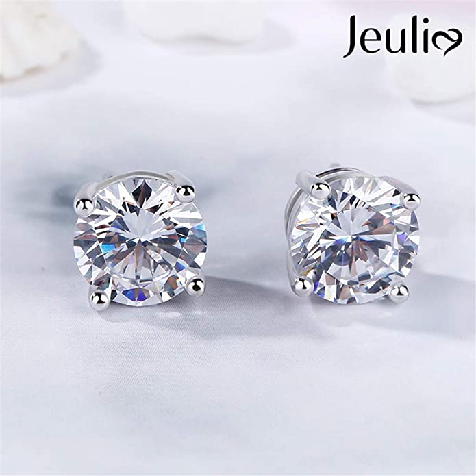 5c184844b Amazon.com: Jeulia Classic Round Cut Sterling Silver Stud Earrings Round  Clear CZ Jewelry Women's Stud Earrings Cubic Zirconia Gift for Women &  Girls Love ...