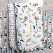 Carousel Designs Watercolor Mermaids 3-Piece Crib Bedding Set