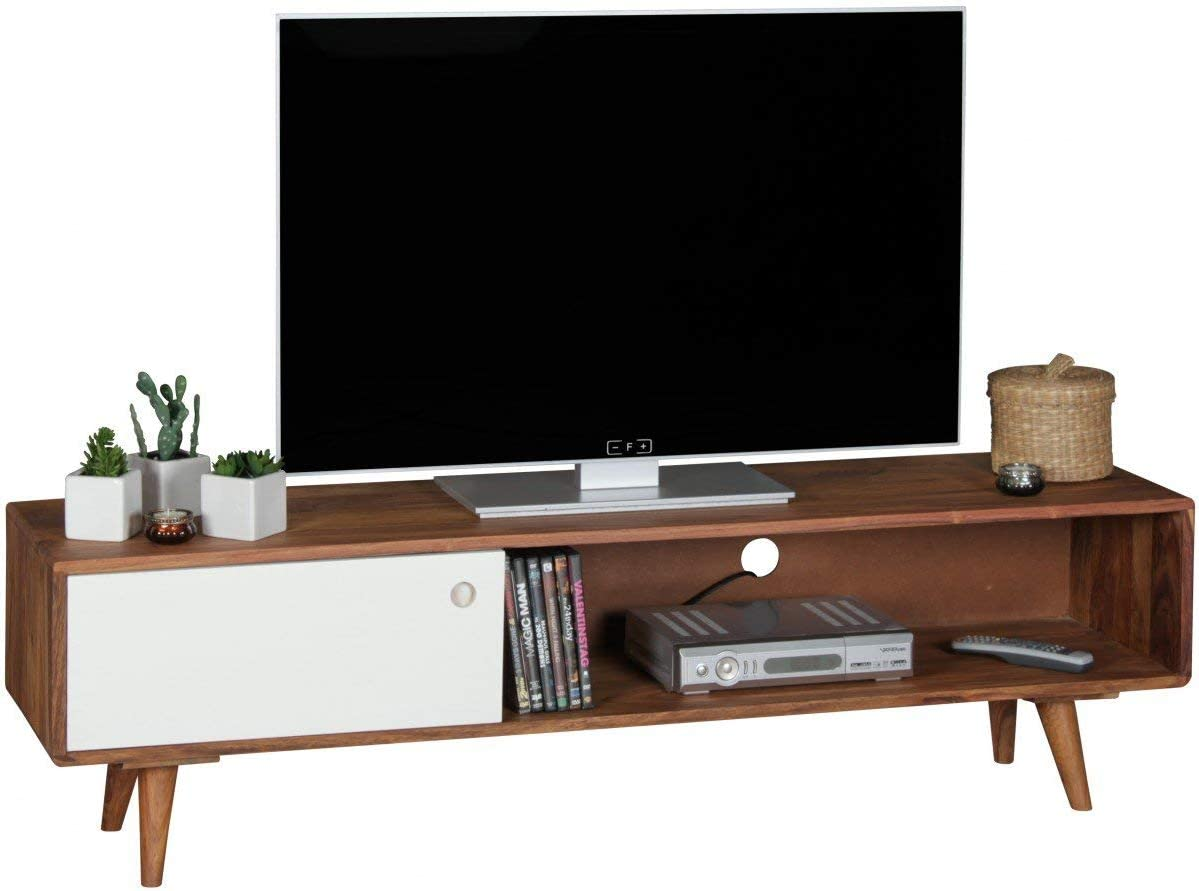 WOHNLING Repa - Mesita Baja para televisor, con 1 o 2 Puertas, de Madera Maciza de Sheesham, 140 x 40 x 35 cm: Amazon.es: Hogar