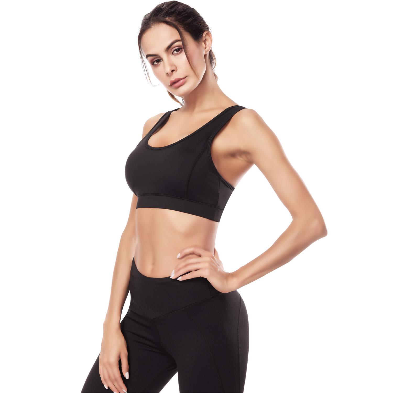 9ffd21239f5 ZOUYUE Sports Bra Wireless Removable Padded Bra for Gym Workout Fitness  Running Yoga Bra(Black